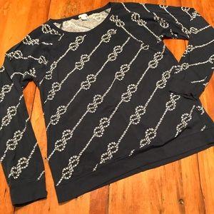 J. Crew Navy Long Sleeve Rope Pattern Shirt